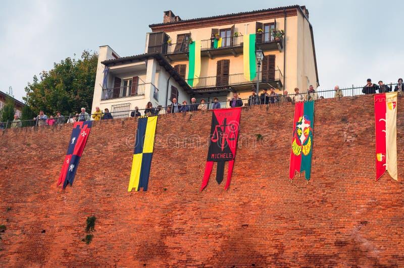 Calliano (Asti), gli asini corre Immagine di colore fotografia stock