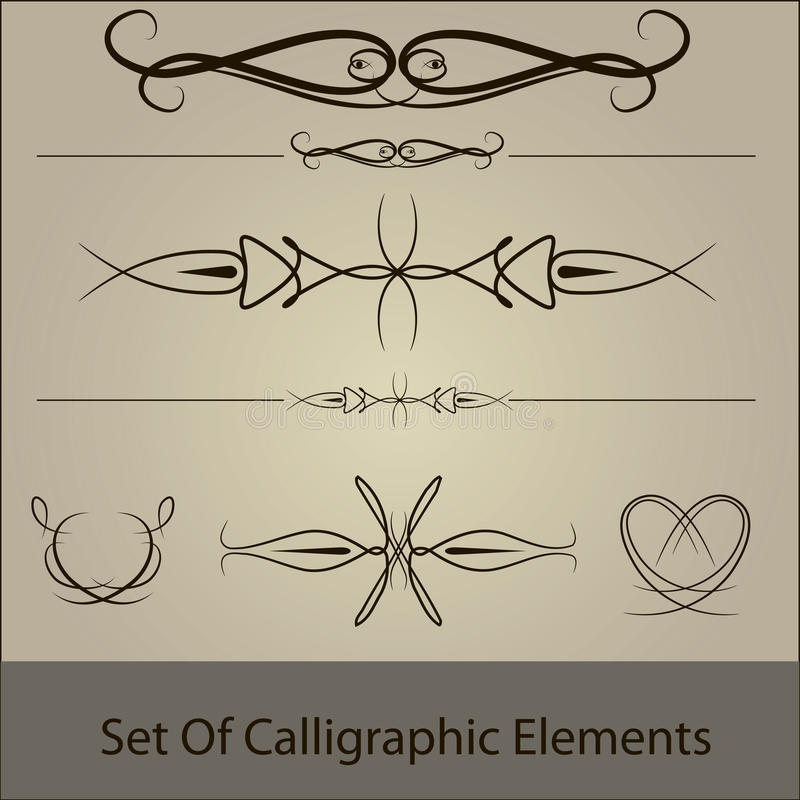 calliggraphic καθορισμένο διάνυσμα στοκ εικόνα