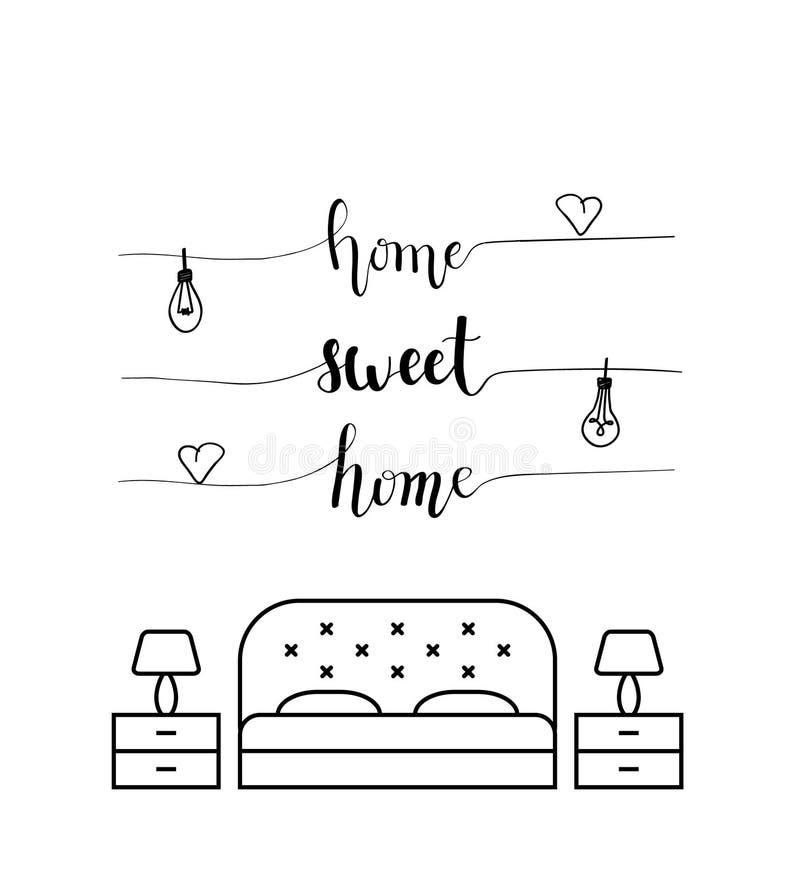 Calligrafia della casa dolce casa in una camera da letto illustrazione vettoriale