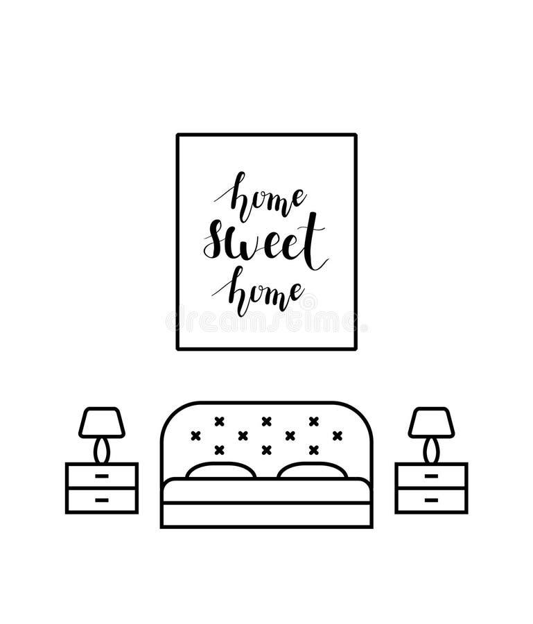 Calligrafia della casa dolce casa in una camera da letto royalty illustrazione gratis