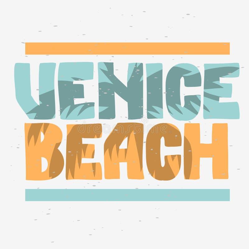 Calligrafia di Logo Hand Drawn Lettering Modern del segno dell'etichetta della palma di Venice Beach Los Angeles California per l royalty illustrazione gratis