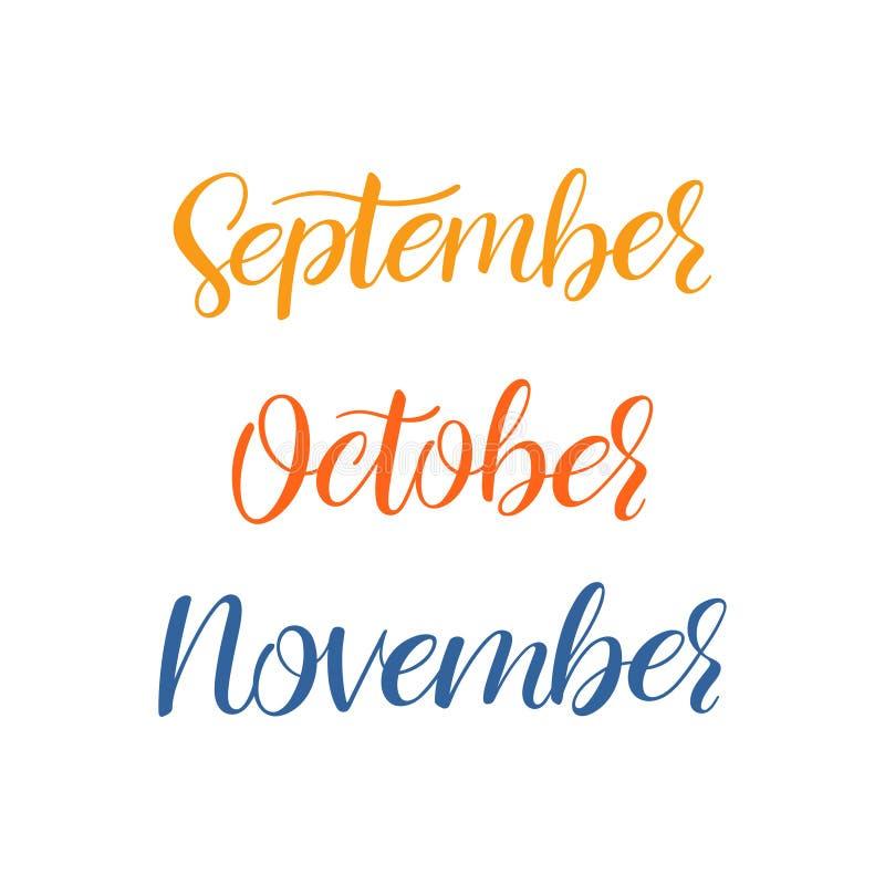 Calligrafia di mesi di autunno illustrazione vettoriale
