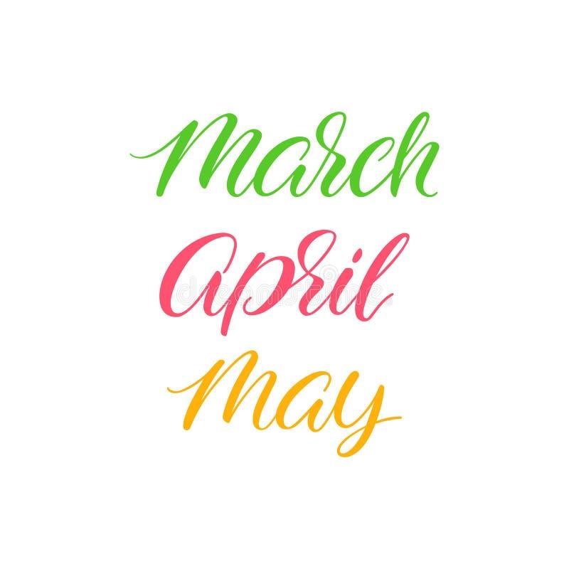 Calligrafia di mesi della primavera illustrazione di stock