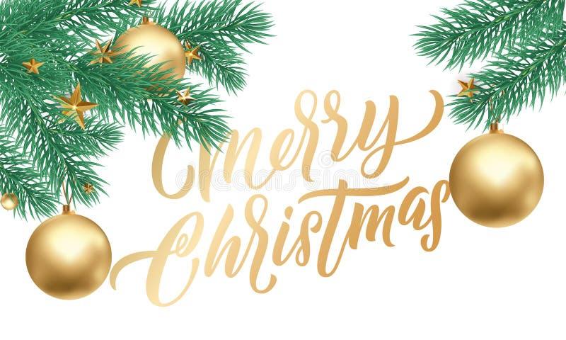Calligrafia dorata di Buon Natale che segna la decorazione con lettere delle stelle d'oro di natale Ornamenti dell'albero di nata illustrazione di stock