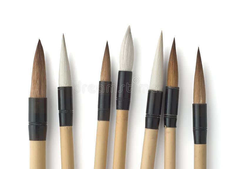 Calligrafia e spazzole di arte di Sumi-e immagini stock