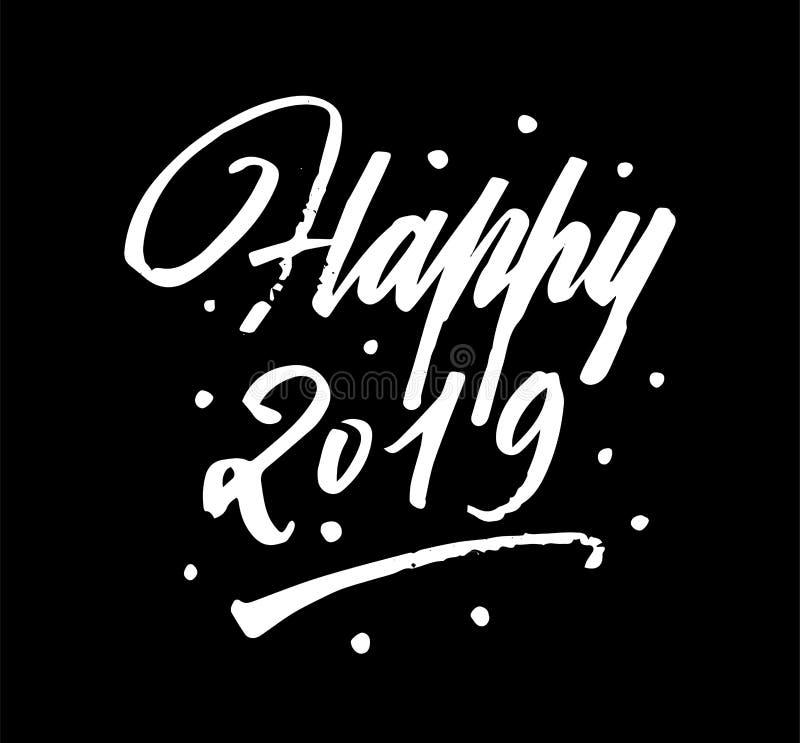 Calligrafia felice dell'iscrizione della penna di 2019 spazzole illustrazione di stock