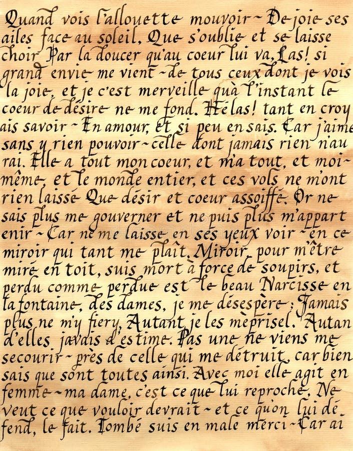 Calligrafia francese fotografie stock