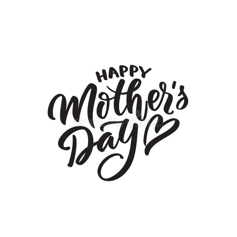 Calligrafia moderna della madre s del testo felice di giorno immagini stock