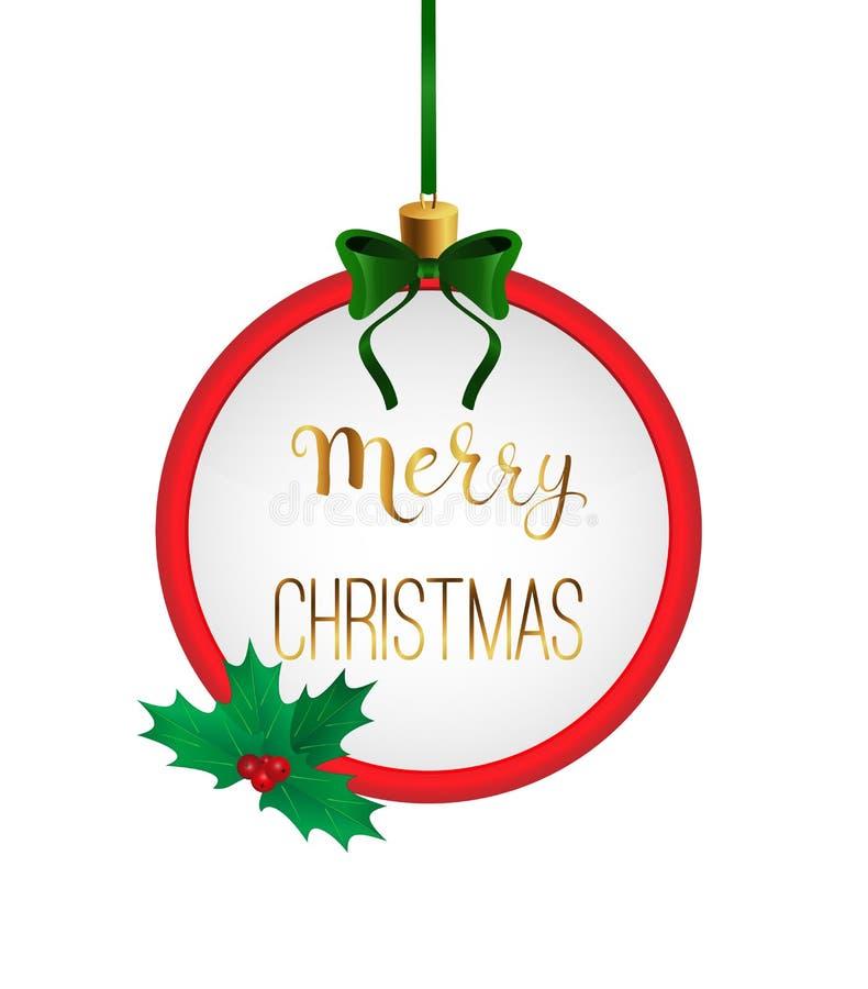 Calligrafia scritta a mano di Buon Natale nel telaio rotondo La bagattella gradisce fotografia stock libera da diritti
