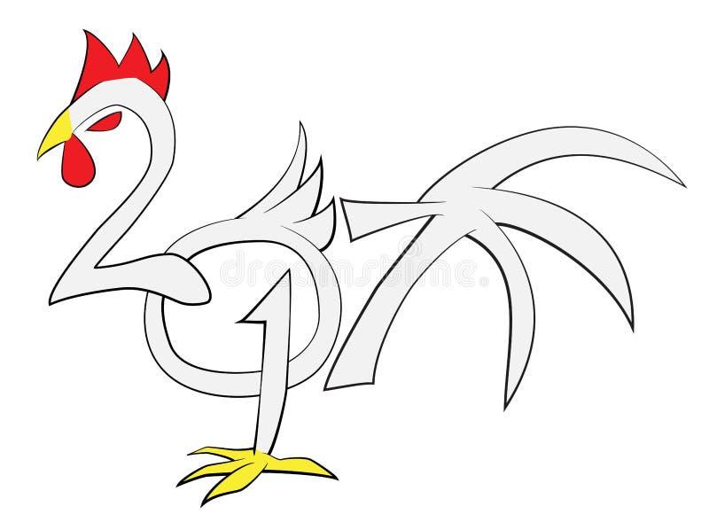 2017 calligrafie cinesi del gallo del nuovo anno royalty illustrazione gratis
