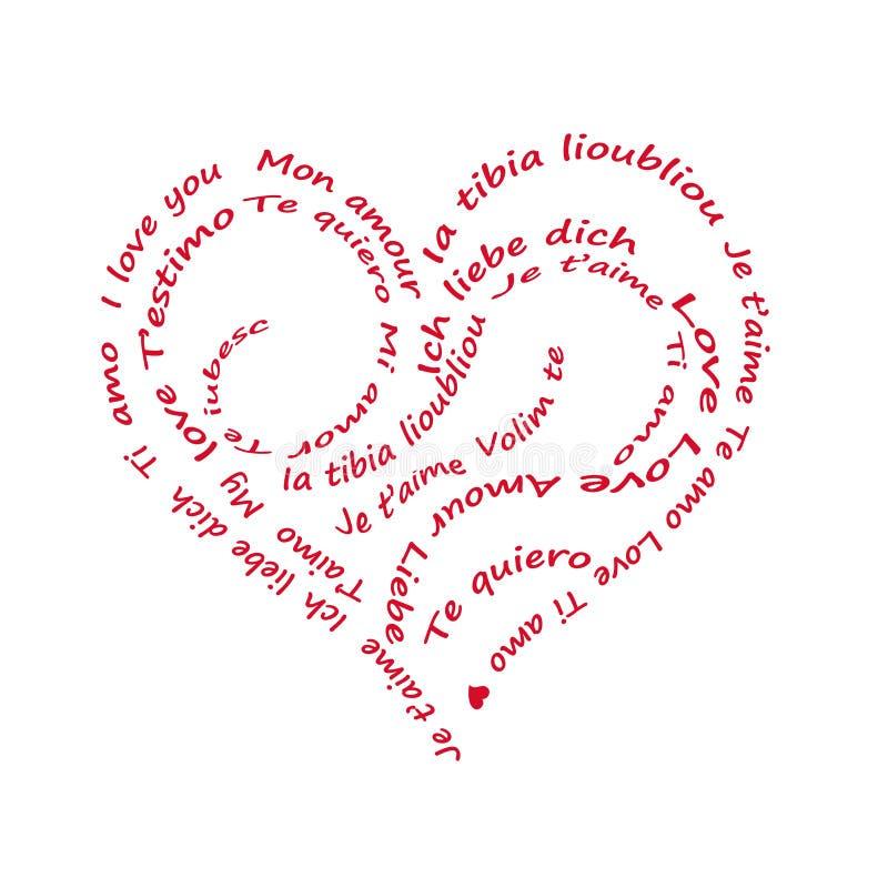 Calligram ich liebe dich geschrieben in alll Sprachen, auf Weiß lizenzfreies stockfoto
