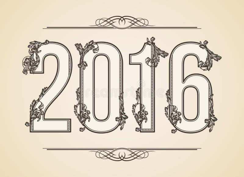 Calligraphic år nummer 2016 Virvelstil Illstaration Virvelillustration royaltyfri illustrationer