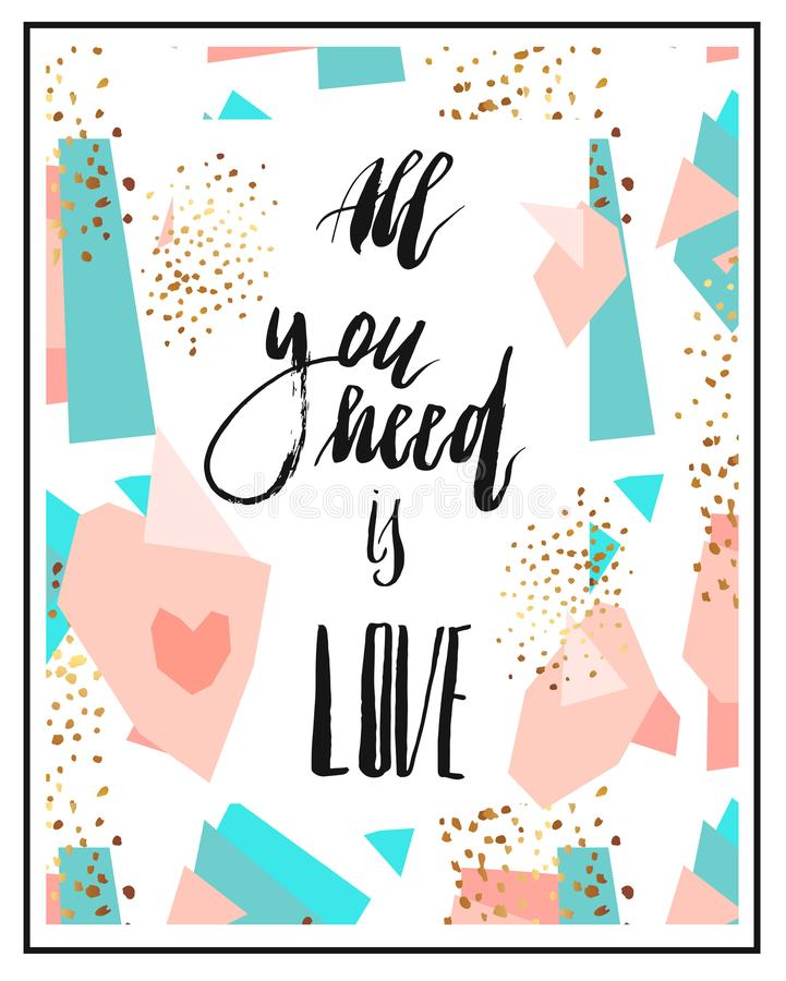 Calligraphic All You Need is Love inscription royalty free illustration