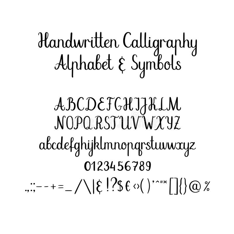 Download Calligraphic Alphabet Handwritten Brush Font Uppercase Lowercase Ampersand Wedding Calligraphy