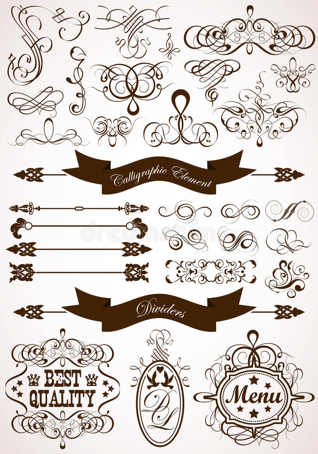 Free Calligraphic And Floral Element Royalty Free Stock Photos - 23622468