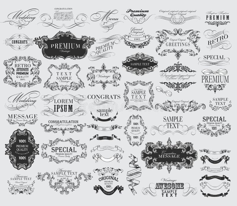 Calligraphic beståndsdelar för blom- design vektor illustrationer