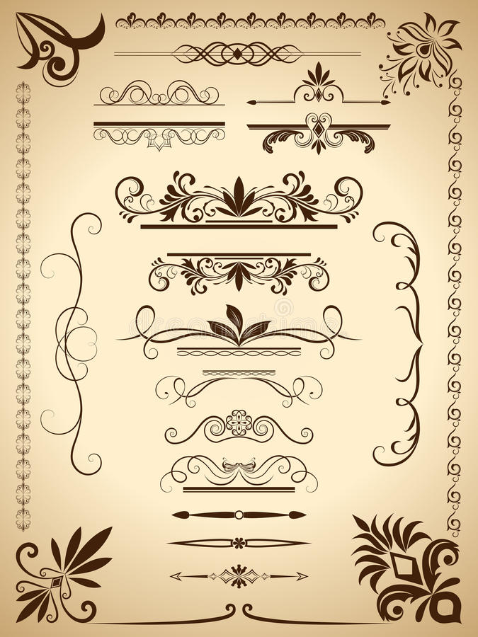 Calligraphic beståndsdelar för tappning royaltyfri illustrationer