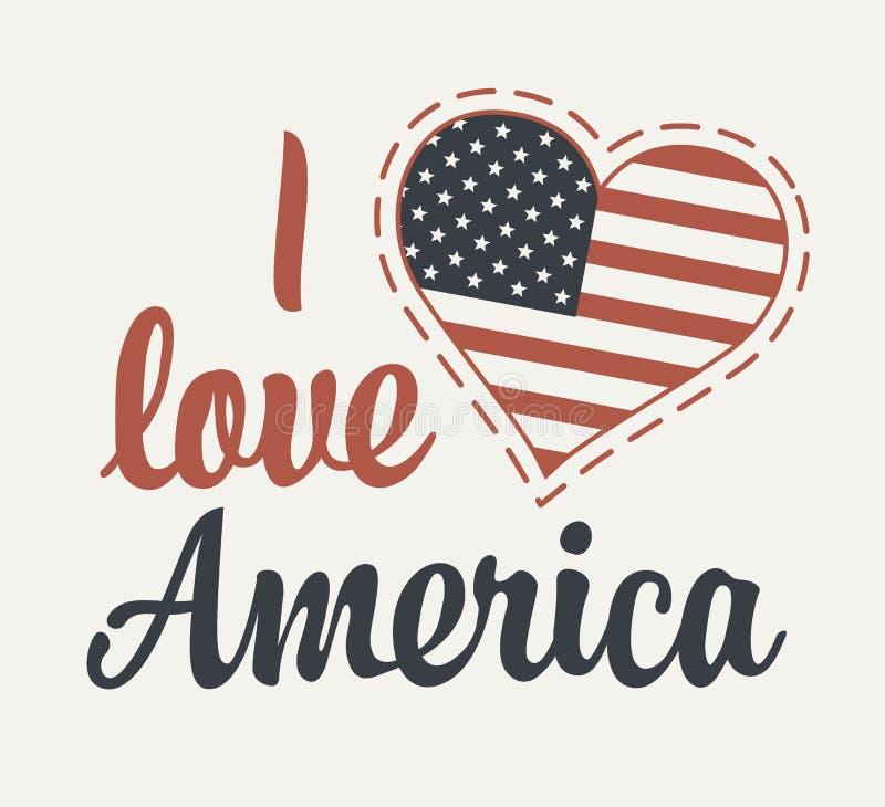 Calligraphic bokstäver älskar jag Amerika med oss flaggan vektor illustrationer