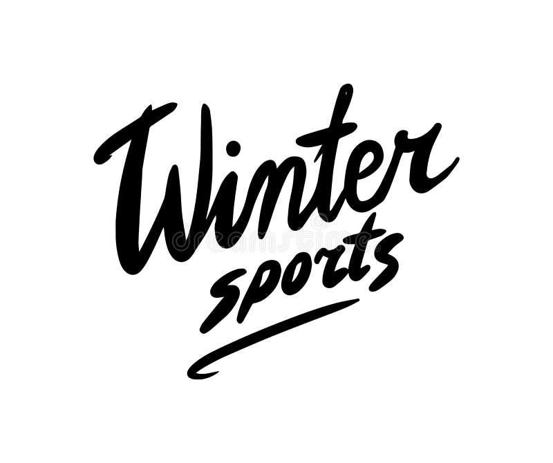 Calligraphic Brush sport invernale Maniglia incisa disegnata nello sketch di vintage Badge o emblema, logo per segno illustrazione vettoriale