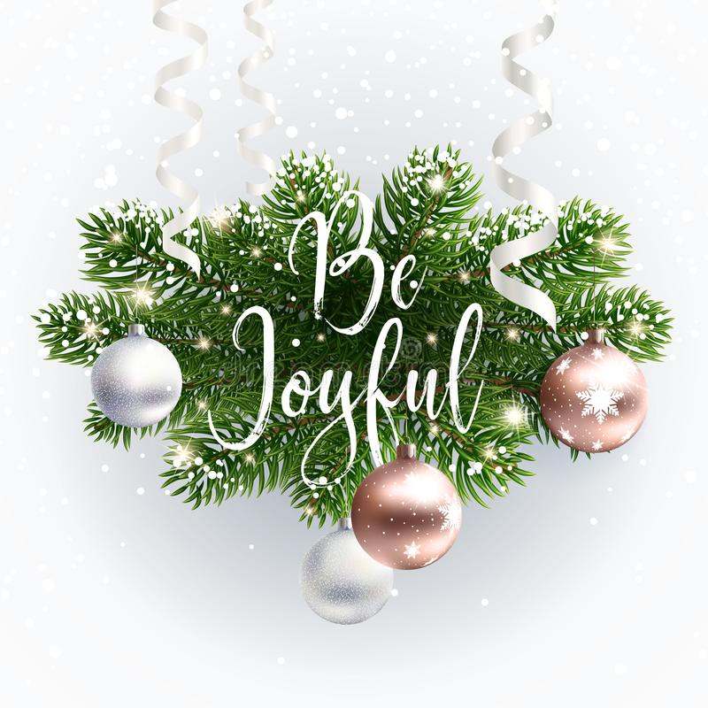 Calligraphic Christmas inscription Be Joyful vector illustration