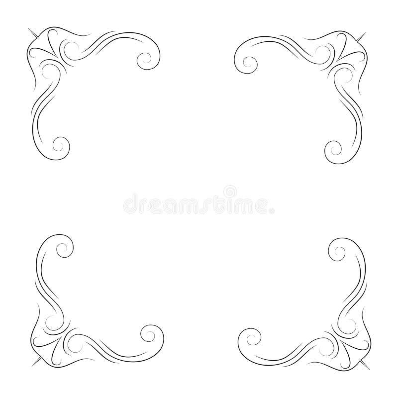 Calligraphic corners and decorative elements. Filigree flourish corners. Vector illustration. royalty free illustration