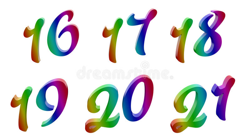 Calligraphic 3D Rendered Digits, Numbers. From sixteen to twenty one, 16, 17, 18, 19, 20, 21 Calligraphic 3D Rendered Digits, Numbers Colored With RGB Rainbow vector illustration