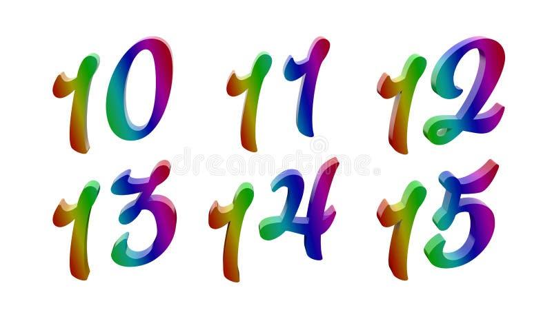 Calligraphic 3D Rendered Digits, Numbers. Ten Eleven Twelve Thirteen Fourteen Fifteen, 10, 11, 12, 13, 14, 15 Calligraphic 3D Rendered Digits, Numbers Colored royalty free illustration