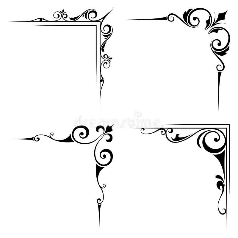 Calligraphic decorative black corner elements. Vector illustration. stock illustration