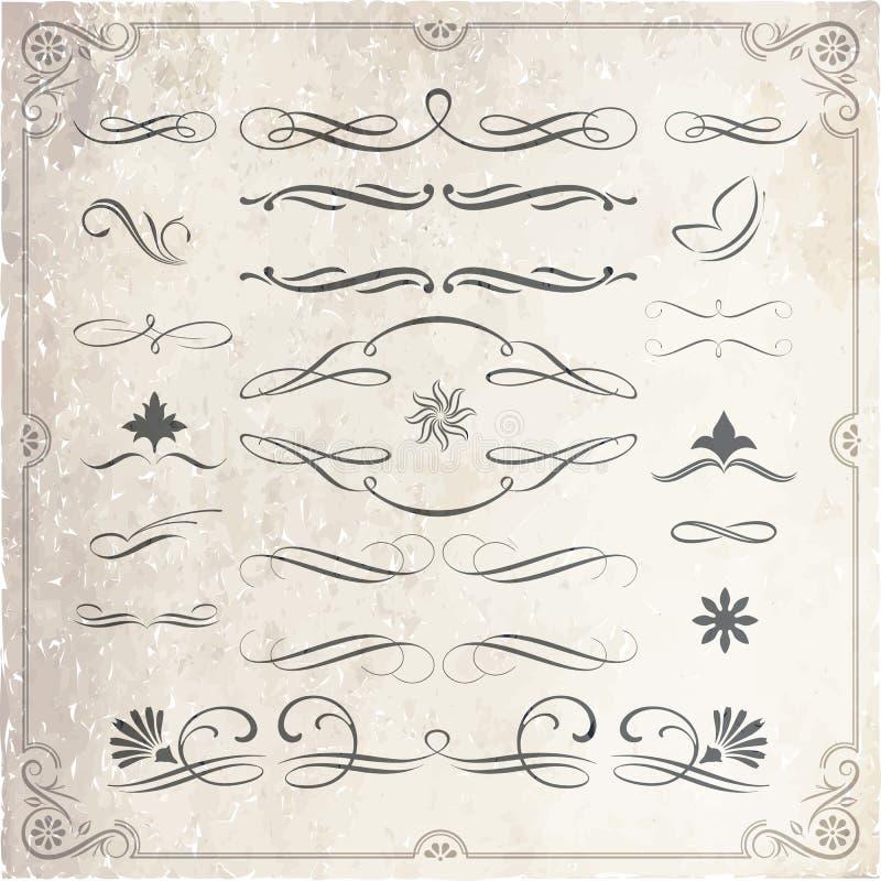 Calligraphic and Decorative Design Elements stock illustration