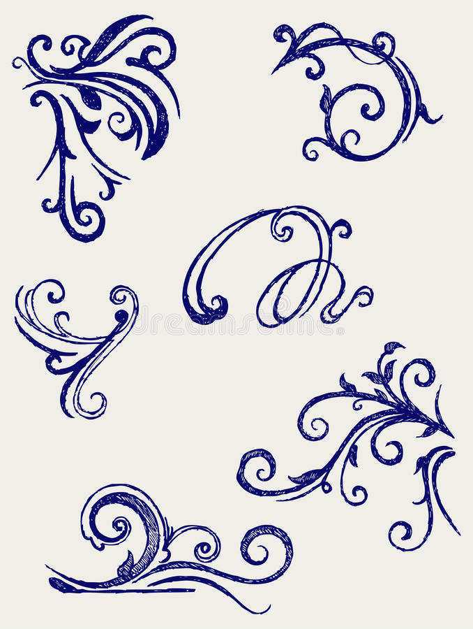 Calligraphic design element. Doodle style stock illustration