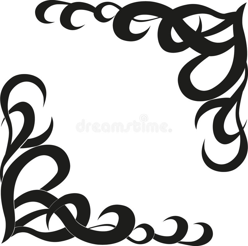 Calligraphic design element of frame and page decoration. Calligraphic black frame design element and page decoration isolated on white royalty free illustration