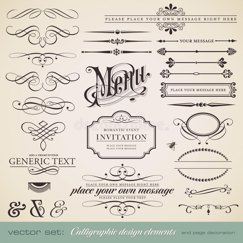 Calligraphic design elements royalty free stock image
