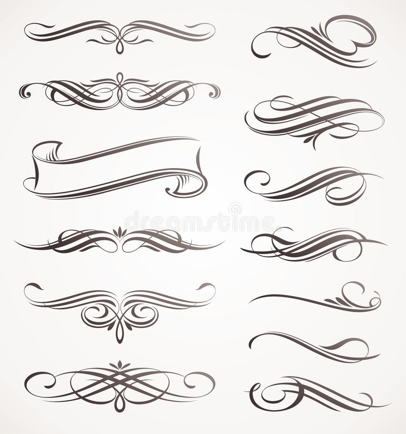 Calligraphic design elements royalty free illustration