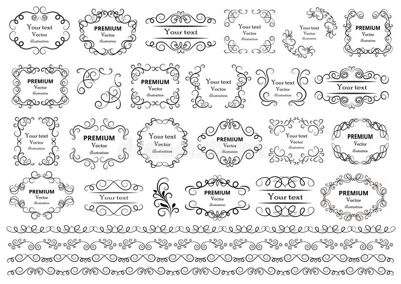 Calligraphic design elements . Decorative swirls or scrolls, vintage frames , flourishes, labels and dividers. Retro vector illust. Ration stock illustration