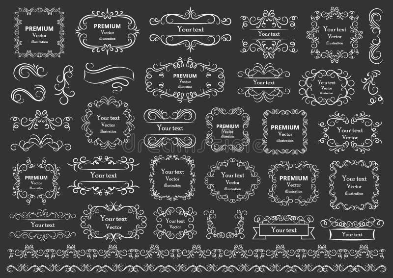 Calligraphic design elements . Decorative swirls or scrolls, vintage frames , flourishes, labels and dividers. Retro vector. Illustration stock illustration