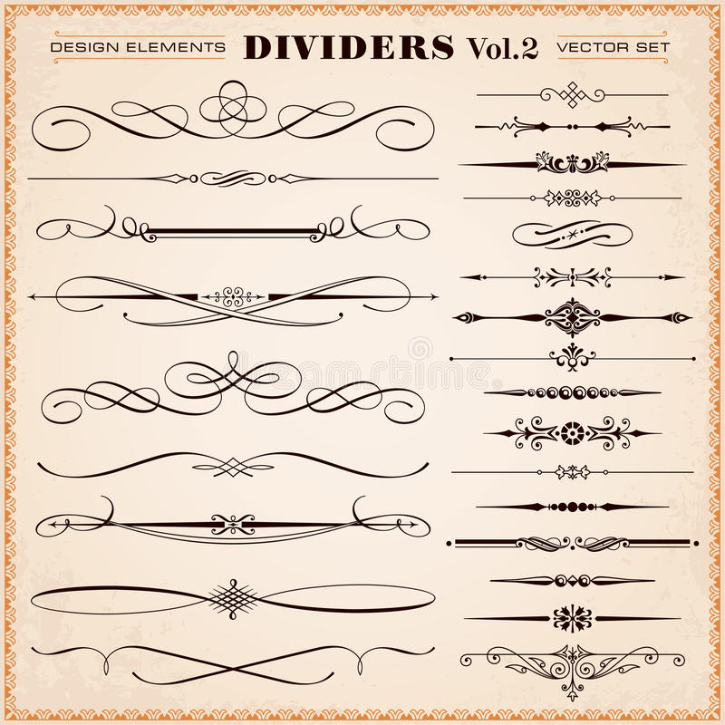 Calligraphic Design Elements, Dividers and Dashes. Set of vector vintage calligraphic design elements and page decoration, dividers and dashes vector illustration