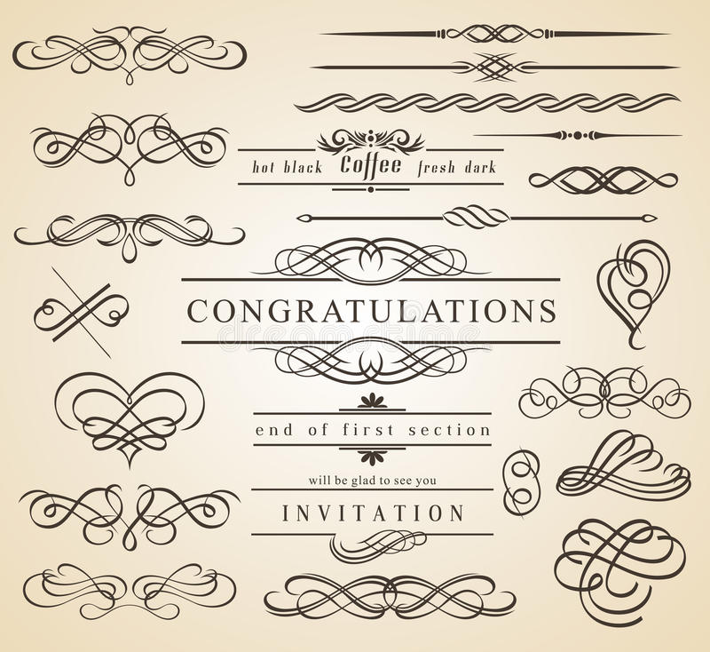 Calligraphic Design Elements and Frames vector illustration