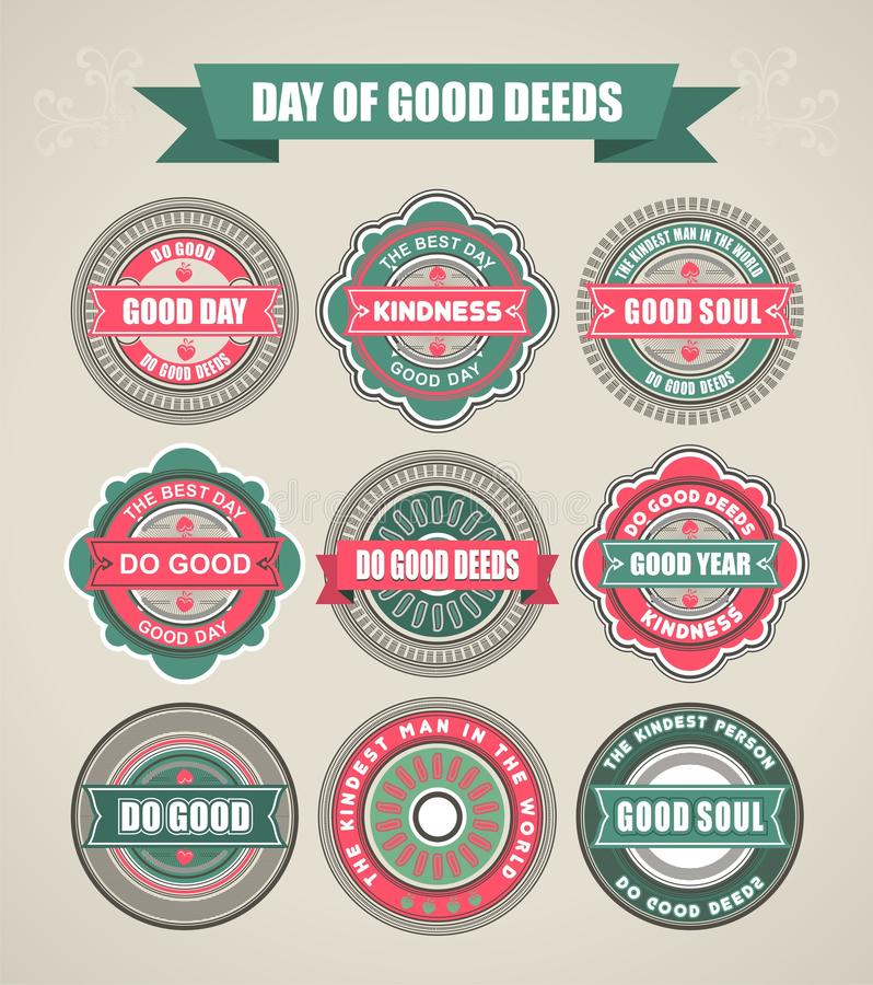 Calligraphic Design Elements of love and kindness. Set of calligraphic elements festive stickers and posters to love and good rewards for good people and good vector illustration