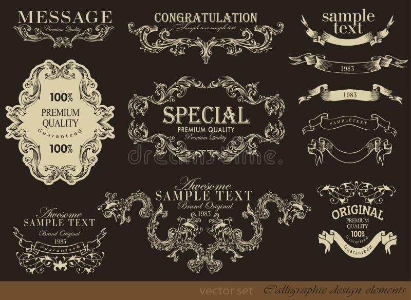Calligraphic design elements royalty free illustration