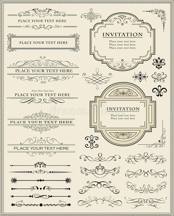 Calligraphic design elements and page decoration stock illustration