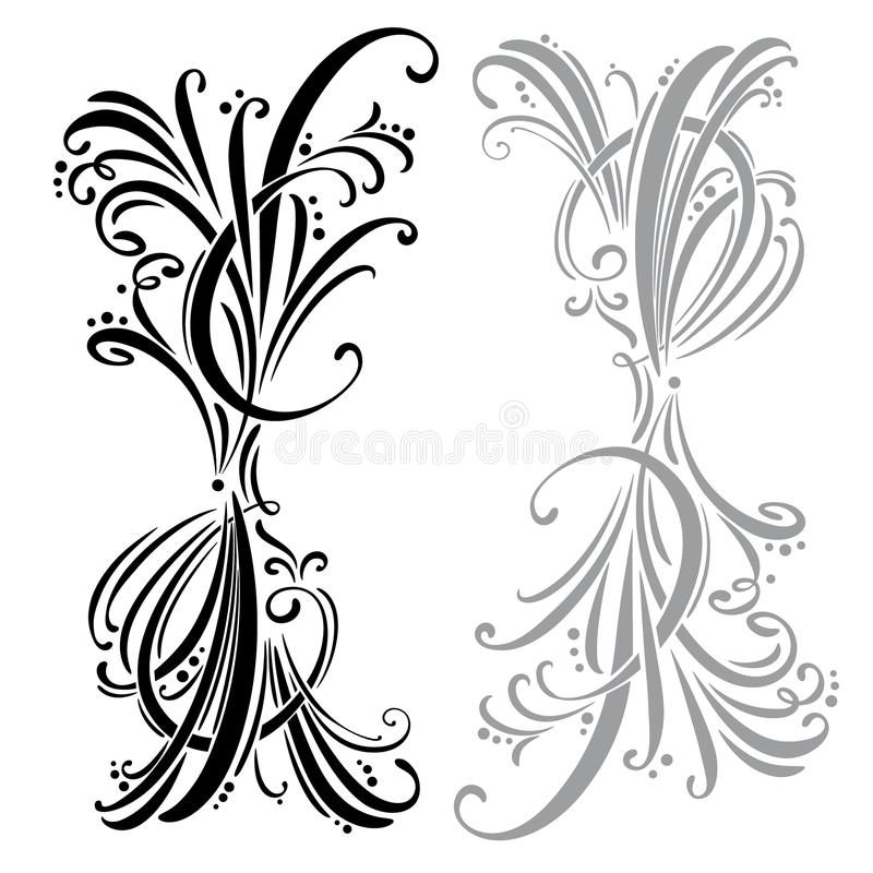 Calligraphic design elements and page decoration. set vector illustration
