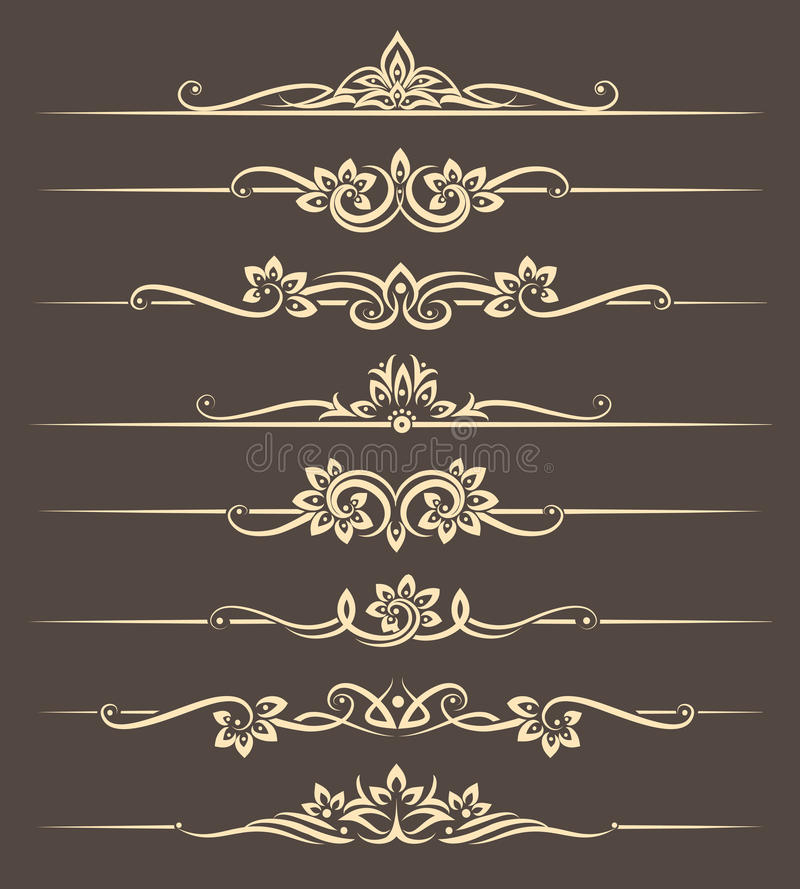 Calligraphic design elements, page dividers with thai ornament. Divider ornament page, ornate vector illustration vector illustration