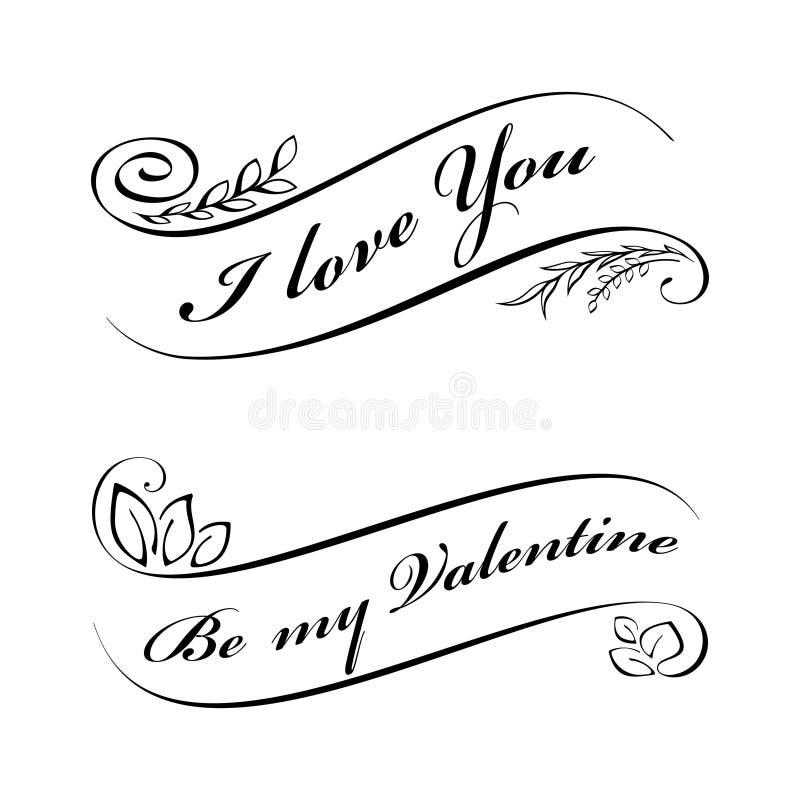 Calligraphic design elements for Valentine's day stock illustration