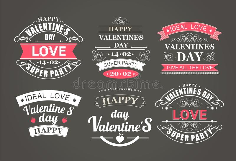 Calligraphic Design Elements Valentines Day. Calligraphic design elements and font of the composition for the holiday Valentine's Day on a black background made stock illustration