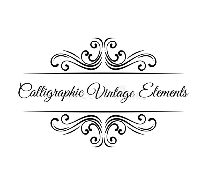 Calligraphic design elements. Vintage Vector Ornaments Decorations. Vector. Calligraphic design elements. Vintage Vector Ornaments Decorations Design Elements royalty free illustration