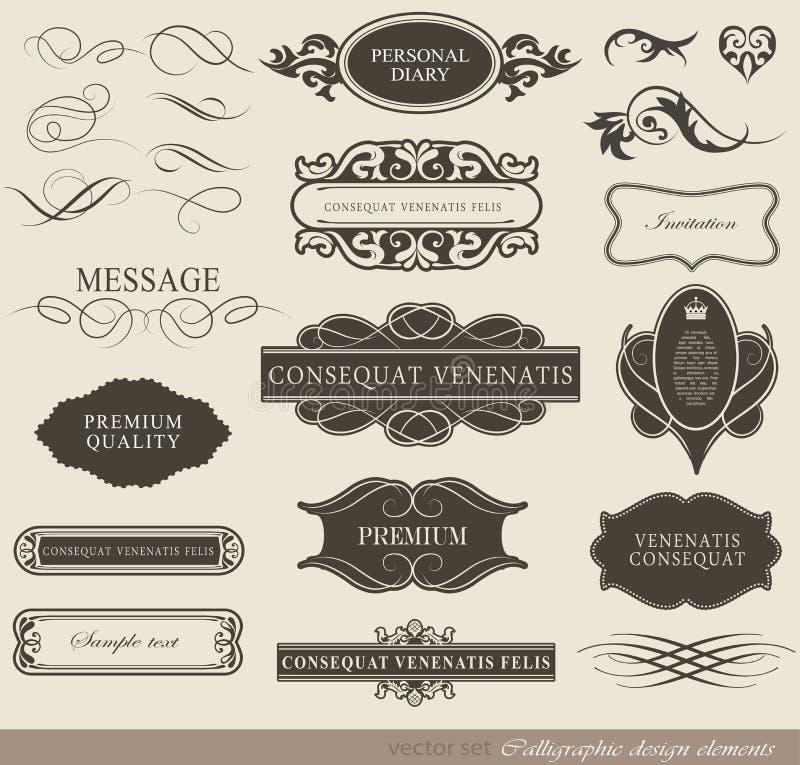 Calligraphic designbeståndsdelar vektor illustrationer