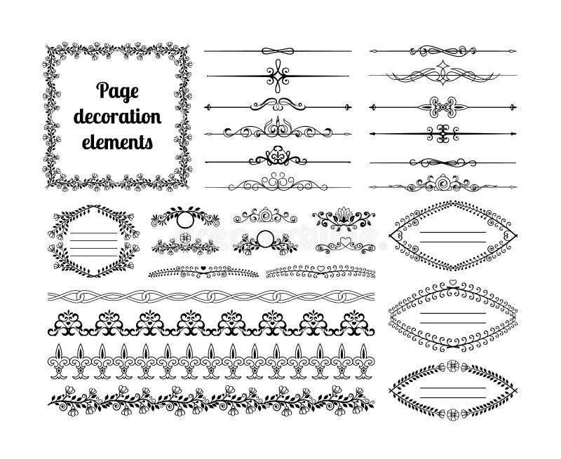 Calligraphic designbeståndsdelar för sidagarnering vektor illustrationer