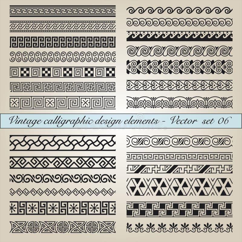 Calligraphic designbeståndsdelar för tappning royaltyfri illustrationer