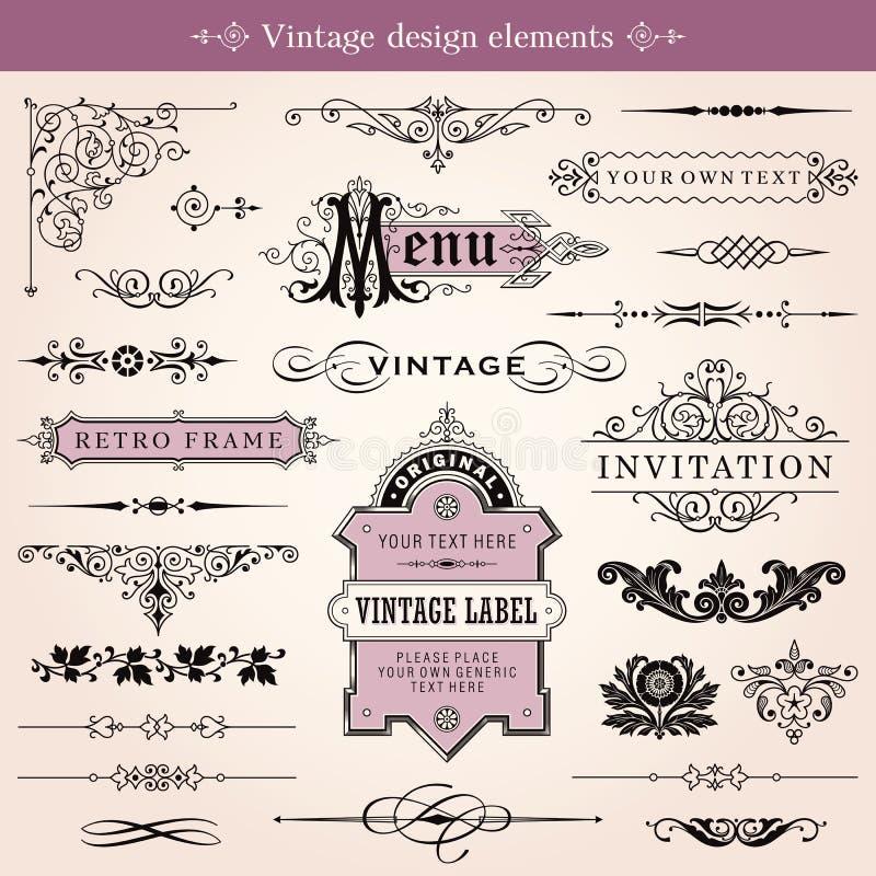 Calligraphic designbeståndsdelar för tappning och sidagarnering vektor illustrationer