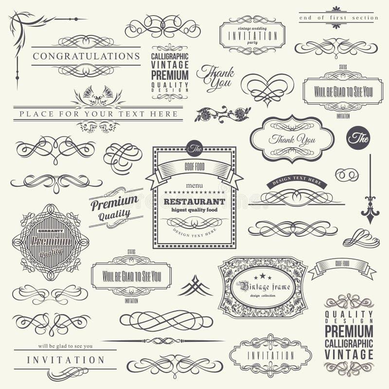 Calligraphic designbeståndsdelar, gränshörnram stock illustrationer